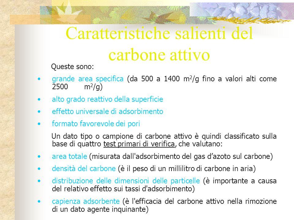 Rimozione degli agenti inquinanti organici da adsorbimento del carbone attivo La particolare affinità del carbone per i prodotti organici è dovuta alla relativa natura non polare.