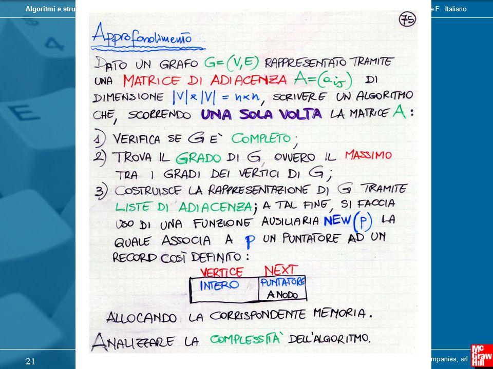 Camil Demetrescu, Irene Finocchi, Giuseppe F. ItalianoAlgoritmi e strutture dati Copyright © 2004 - The McGraw - Hill Companies, srl 21