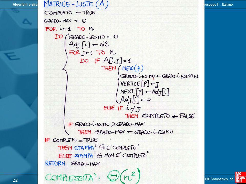 Camil Demetrescu, Irene Finocchi, Giuseppe F. ItalianoAlgoritmi e strutture dati Copyright © 2004 - The McGraw - Hill Companies, srl 22