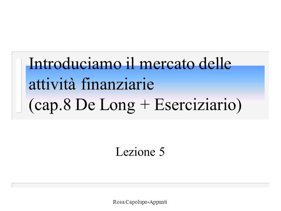 Rosa Capolupo-Appunti Moltiplicatore depositi n H=( c+  ) D n o in modo equivalente: n D= 1/(c+  )xH n i depositi sono un multiplo della base monetaria.
