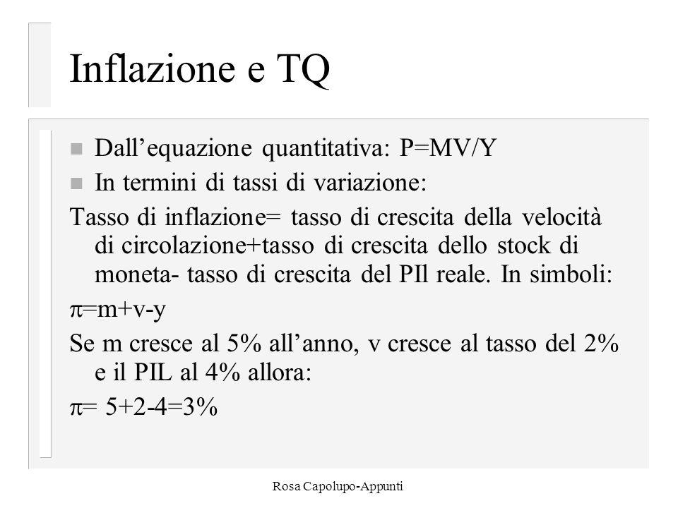 Rosa Capolupo-Appunti Inflazione e TQ n Dall'equazione quantitativa: P=MV/Y n In termini di tassi di variazione: Tasso di inflazione= tasso di crescit