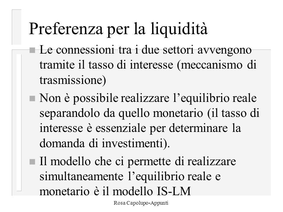Rosa Capolupo-Appunti Preferenza per la liquidità n Le connessioni tra i due settori avvengono tramite il tasso di interesse (meccanismo di trasmissione) n Non è possibile realizzare l'equilibrio reale separandolo da quello monetario (il tasso di interesse è essenziale per determinare la domanda di investimenti).