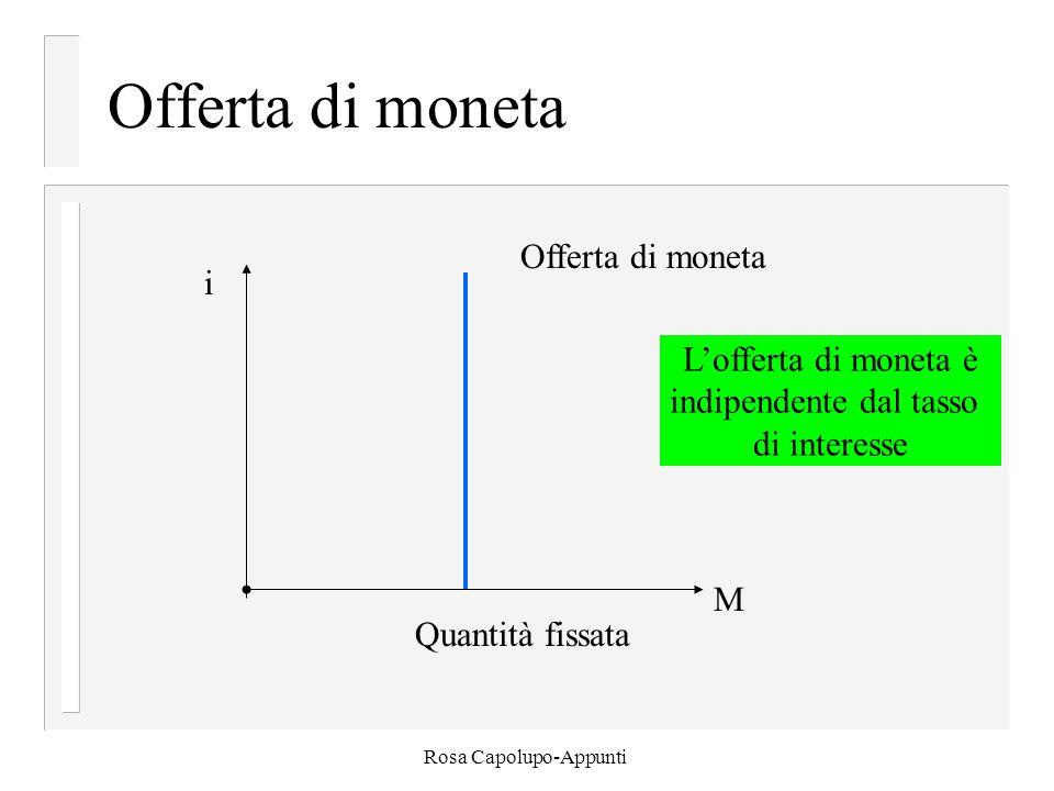Rosa Capolupo-Appunti Offerta di moneta i Quantità fissata M Offerta di moneta L'offerta di moneta è indipendente dal tasso di interesse