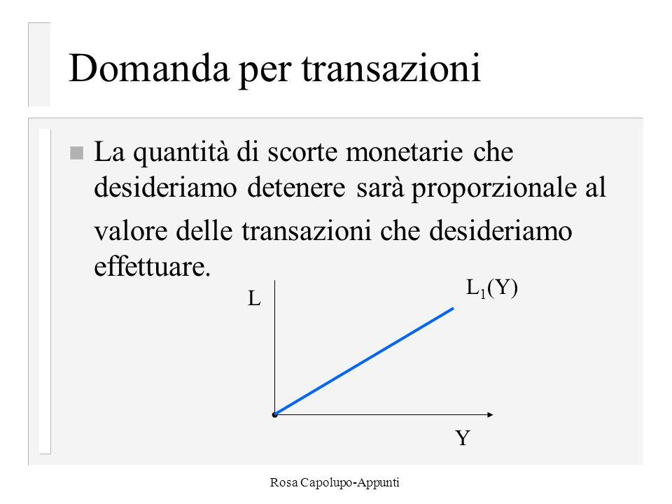 Rosa Capolupo-Appunti Domanda per transazioni n La quantità di scorte monetarie che desideriamo detenere sarà proporzionale al valore delle transazioni che desideriamo effettuare.