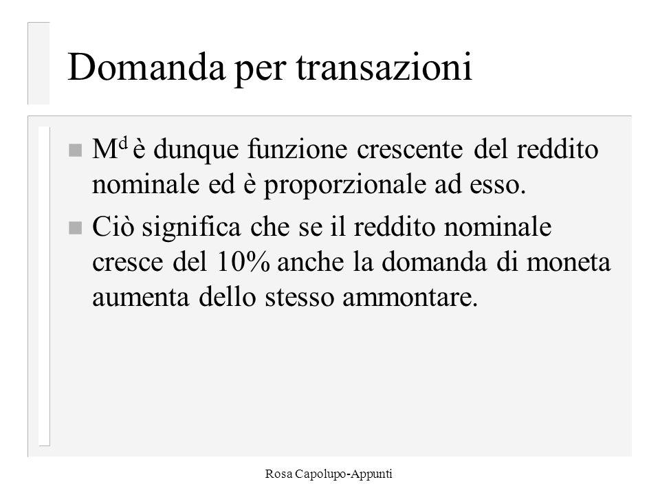 Rosa Capolupo-Appunti Domanda per transazioni n M d è dunque funzione crescente del reddito nominale ed è proporzionale ad esso. n Ciò significa che s