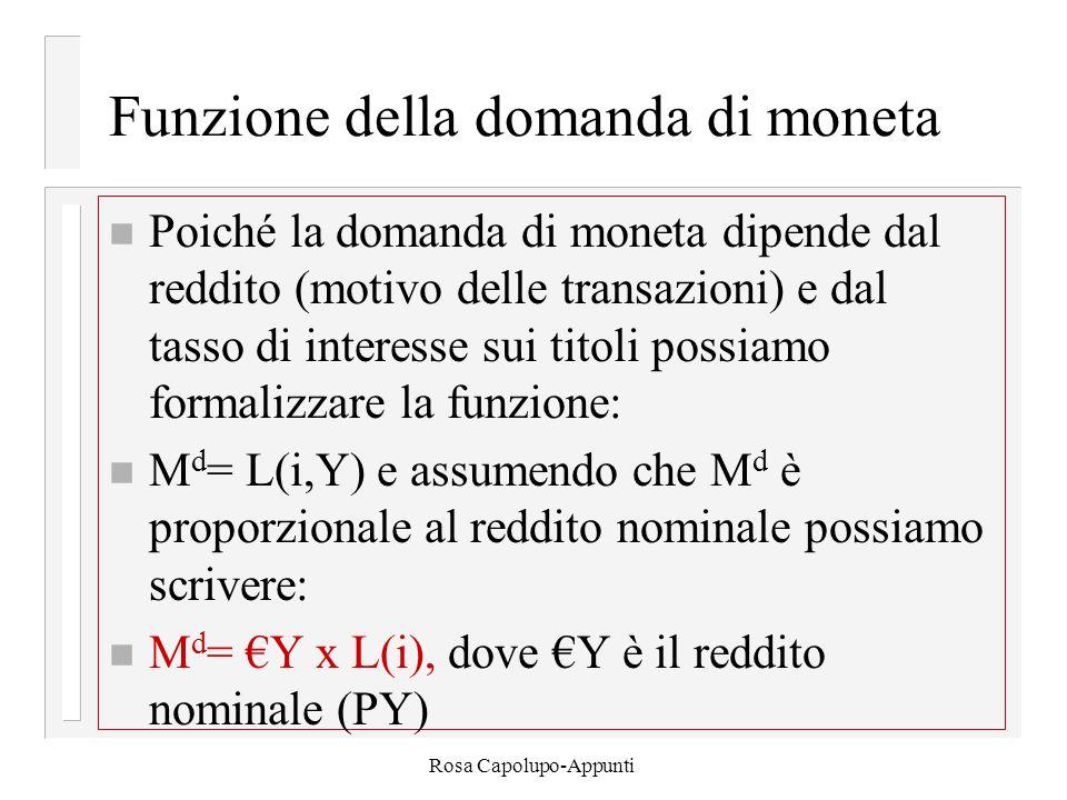 Rosa Capolupo-Appunti Funzione della domanda di moneta n Poiché la domanda di moneta dipende dal reddito (motivo delle transazioni) e dal tasso di int