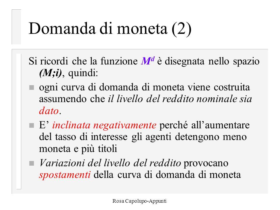 Rosa Capolupo-Appunti Domanda di moneta (2) Si ricordi che la funzione M d è disegnata nello spazio (M;i), quindi: n ogni curva di domanda di moneta viene costruita assumendo che il livello del reddito nominale sia dato.