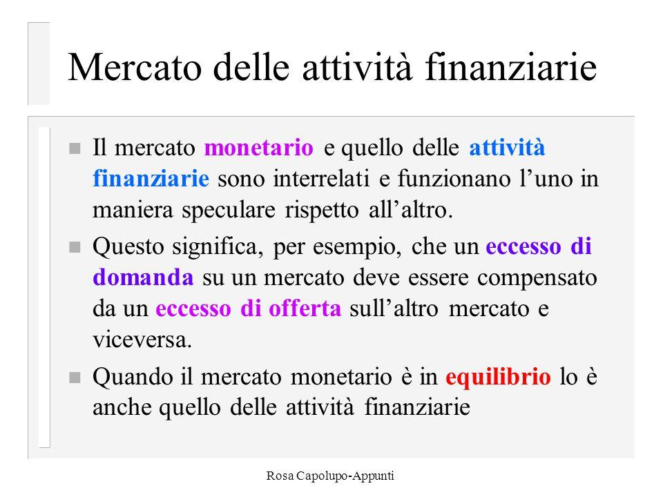 Rosa Capolupo-Appunti Mercato delle attività finanziarie n Il mercato monetario e quello delle attività finanziarie sono interrelati e funzionano l'uno in maniera speculare rispetto all'altro.