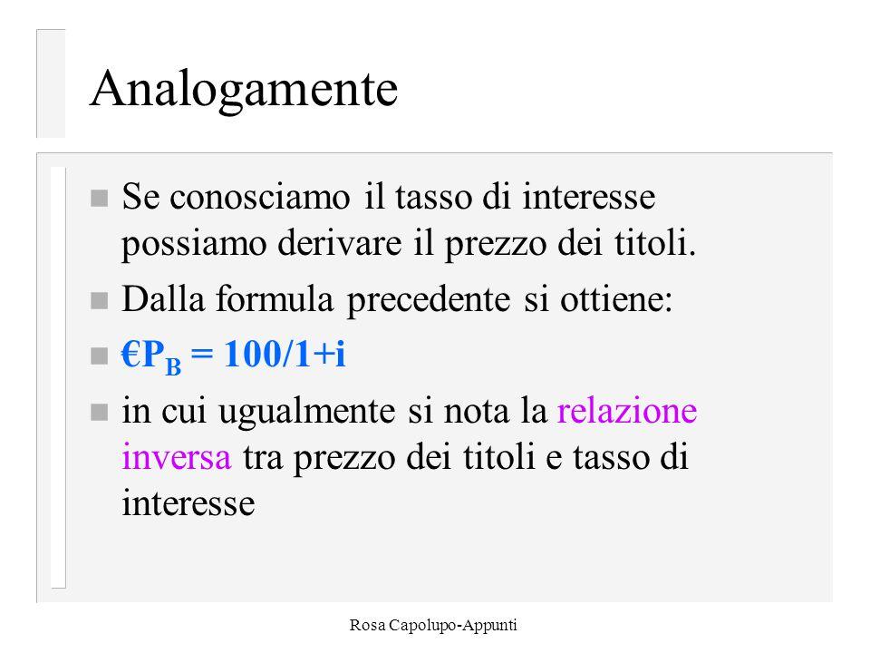 Rosa Capolupo-Appunti Analogamente n Se conosciamo il tasso di interesse possiamo derivare il prezzo dei titoli.