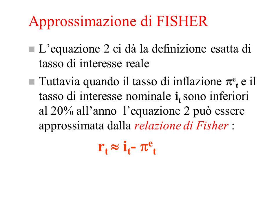 Approssimazione di FISHER n L'equazione 2 ci dà la definizione esatta di tasso di interesse reale n Tuttavia quando il tasso di inflazione  e t e il tasso di interesse nominale i t sono inferiori al 20% all'anno l'equazione 2 può essere approssimata dalla relazione di Fisher : r t  i t -  e t