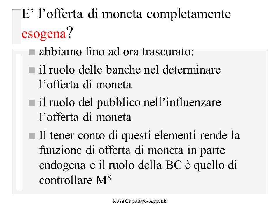 Rosa Capolupo-Appunti E' l'offerta di moneta completamente esogena .
