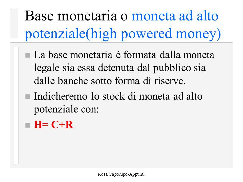 Rosa Capolupo-Appunti Base monetaria o moneta ad alto potenziale(high powered money) n La base monetaria è formata dalla moneta legale sia essa detenuta dal pubblico sia dalle banche sotto forma di riserve.