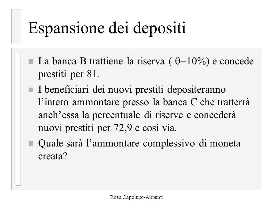 Rosa Capolupo-Appunti Espansione dei depositi n La banca B trattiene la riserva (  =10%) e concede prestiti per 81. n I beneficiari dei nuovi prestit