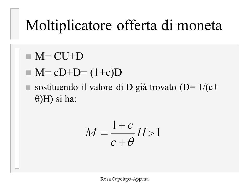 Rosa Capolupo-Appunti Moltiplicatore offerta di moneta n M= CU+D n M= cD+D= (1+c)D n sostituendo il valore di D già trovato (D= 1/(c+  )H) si ha: