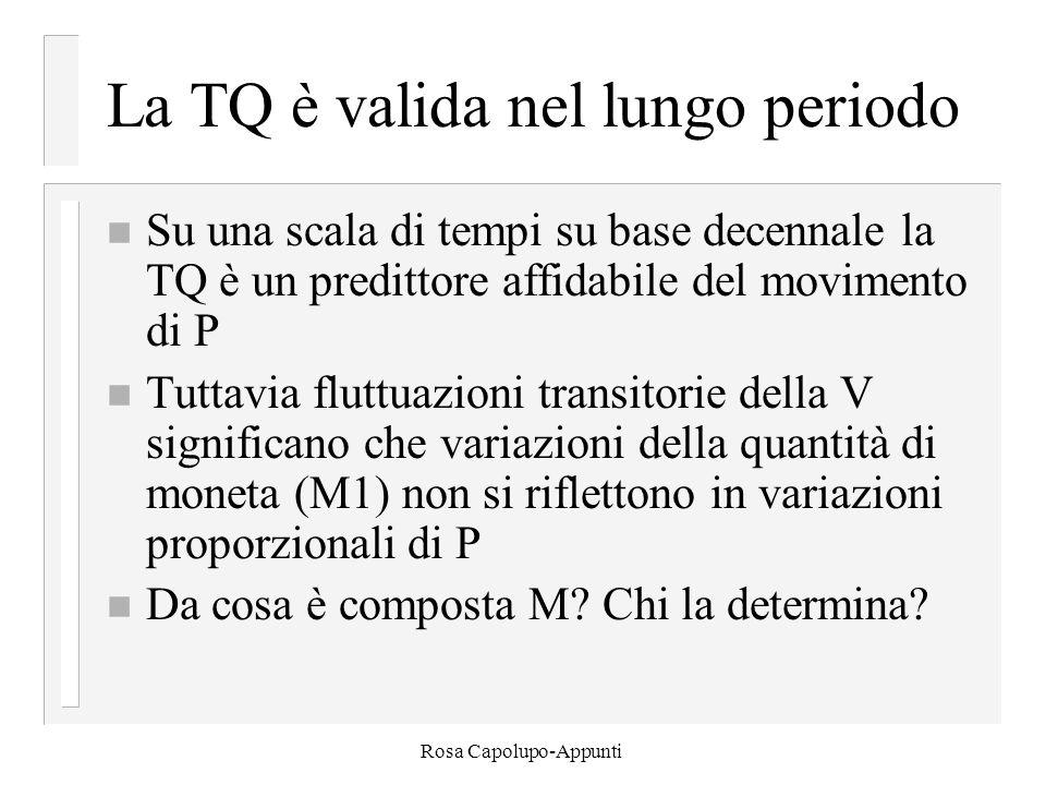 Rosa Capolupo-Appunti La TQ è valida nel lungo periodo n Su una scala di tempi su base decennale la TQ è un predittore affidabile del movimento di P n Tuttavia fluttuazioni transitorie della V significano che variazioni della quantità di moneta (M1) non si riflettono in variazioni proporzionali di P n Da cosa è composta M.