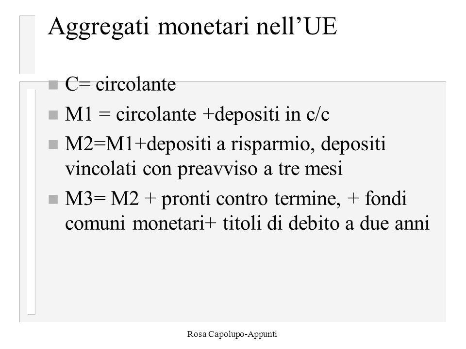 Rosa Capolupo-Appunti Aggregati monetari nell'UE n C= circolante n M1 = circolante +depositi in c/c n M2=M1+depositi a risparmio, depositi vincolati c