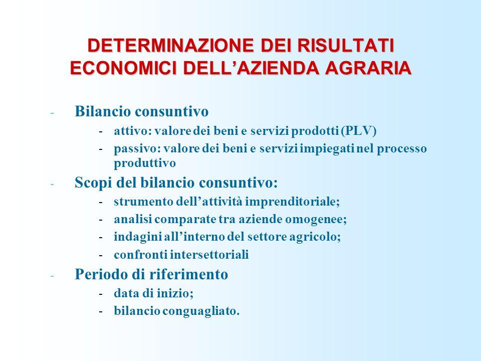 DETERMINAZIONE DEI RISULTATI ECONOMICI DELL'AZIENDA AGRARIA - Bilancio consuntivo - attivo: valore dei beni e servizi prodotti (PLV) - passivo: valore