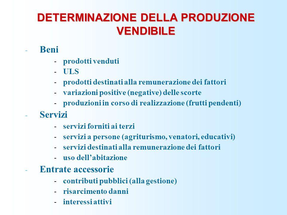 DETERMINAZIONE DELLA PRODUZIONE VENDIBILE - Beni - prodotti venduti - ULS - prodotti destinati alla remunerazione dei fattori - variazioni positive (n