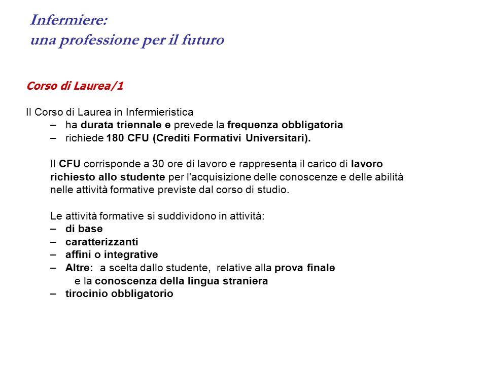 Infermiere: una professione per il futuro Corso di Laurea/1 Il Corso di Laurea in Infermieristica –ha durata triennale e prevede la frequenza obbligatoria –richiede 180 CFU (Crediti Formativi Universitari).