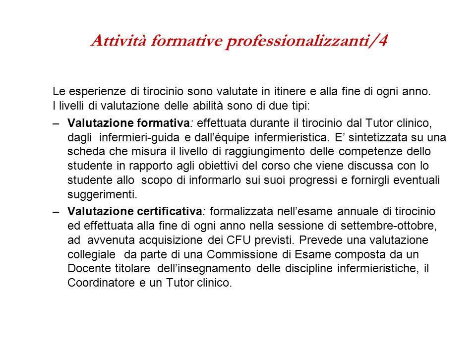 Attività formative professionalizzanti/4 Le esperienze di tirocinio sono valutate in itinere e alla fine di ogni anno.