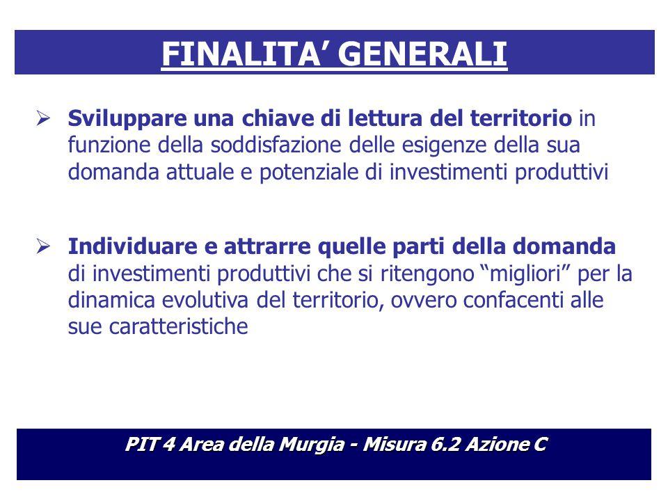 FINALITA' GENERALI  Sviluppare una chiave di lettura del territorio in funzione della soddisfazione delle esigenze della sua domanda attuale e potenziale di investimenti produttivi  Individuare e attrarre quelle parti della domanda di investimenti produttivi che si ritengono migliori per la dinamica evolutiva del territorio, ovvero confacenti alle sue caratteristiche PIT 4 Area della Murgia - Misura 6.2 Azione C