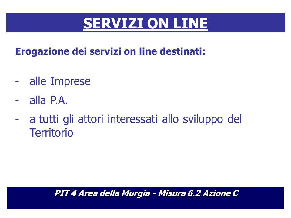 SERVIZI ON LINE Erogazione dei servizi on line destinati: -alle Imprese -alla P.A.