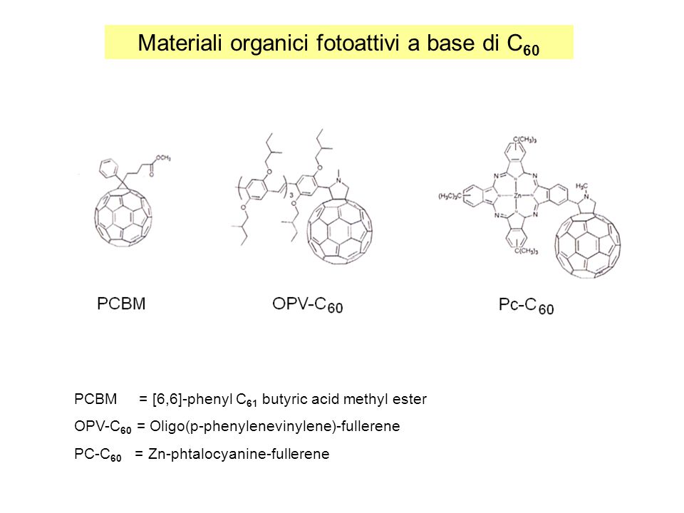 Materiali organici fotoattivi a base di C 60 PCBM = [6,6]-phenyl C 61 butyric acid methyl ester OPV-C 60 = Oligo(p-phenylenevinylene)-fullerene PC-C 6