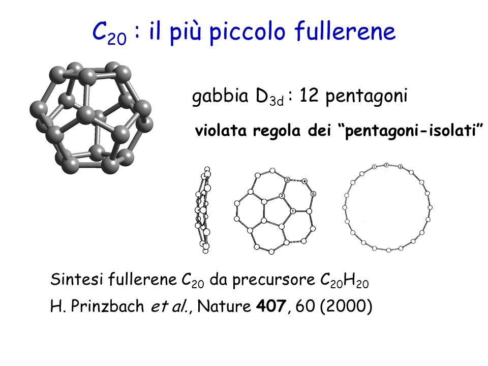 """C 20 : il più piccolo fullerene gabbia D 3d : 12 pentagoni violata regola dei """"pentagoni-isolati"""" Sintesi fullerene C 20 da precursore C 20 H 20 H. Pr"""