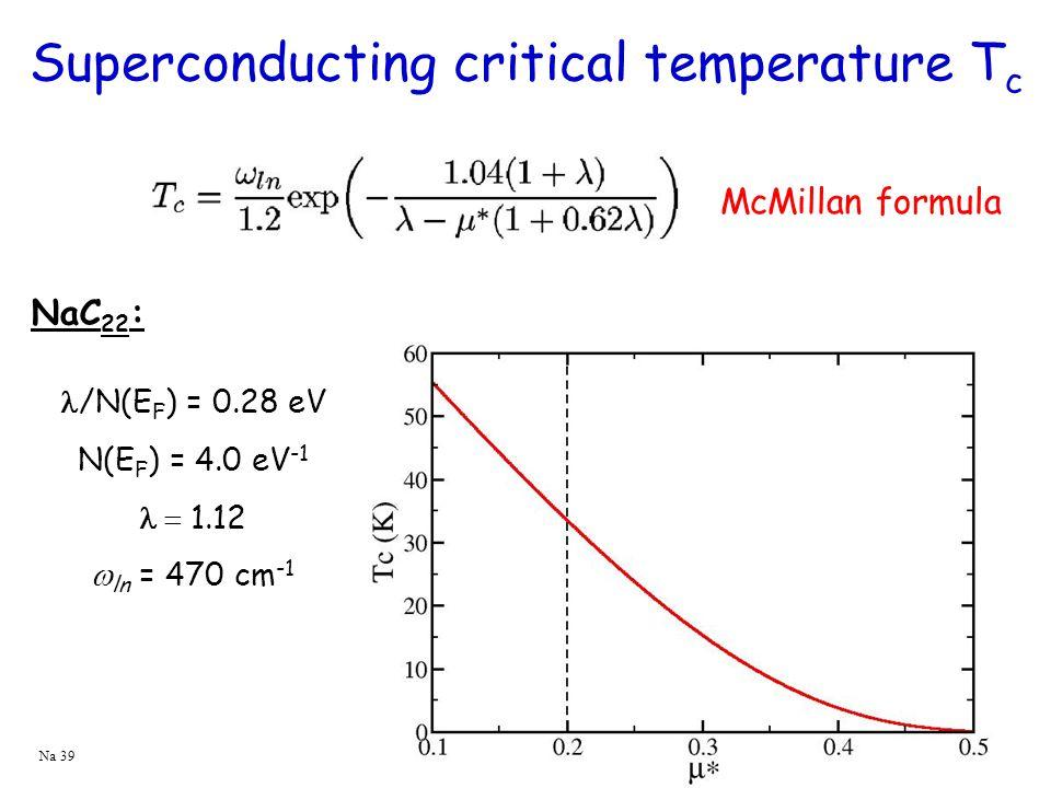 Superconducting critical temperature T c /N(E F ) = 0.28 eV N(E F ) = 4.0 eV -1  1.12  ln = 470 cm -1 NaC 22 : McMillan formula Na 39