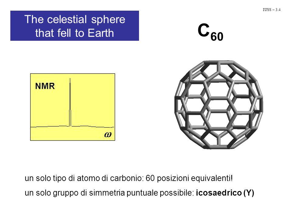 C 60 un solo tipo di atomo di carbonio: 60 posizioni equivalenti! un solo gruppo di simmetria puntuale possibile: icosaedrico (Y) IUSS – 3.4 The celes