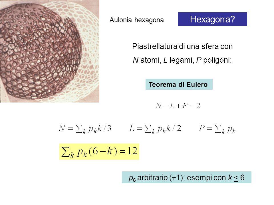 Aulonia hexagona Hexagona? Piastrellatura di una sfera con N atomi, L legami, P poligoni: Teorema di Eulero p 6 arbitrario (  1); esempi con k < 6