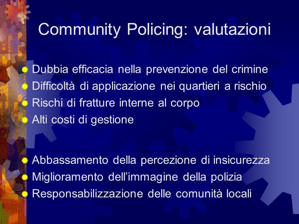Community Policing: valutazioni  Dubbia efficacia nella prevenzione del crimine  Difficoltà di applicazione nei quartieri a rischio  Rischi di fratture interne al corpo  Alti costi di gestione  Abbassamento della percezione di insicurezza  Miglioramento dell'immagine della polizia  Responsabilizzazione delle comunità locali