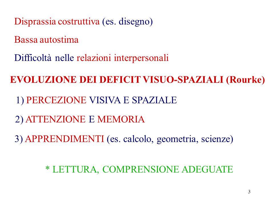 3 Bassa autostima Difficoltà nelle relazioni interpersonali EVOLUZIONE DEI DEFICIT VISUO-SPAZIALI (Rourke) 1) PERCEZIONE VISIVA E SPAZIALE 2) ATTENZIONE E MEMORIA 3) APPRENDIMENTI (es.