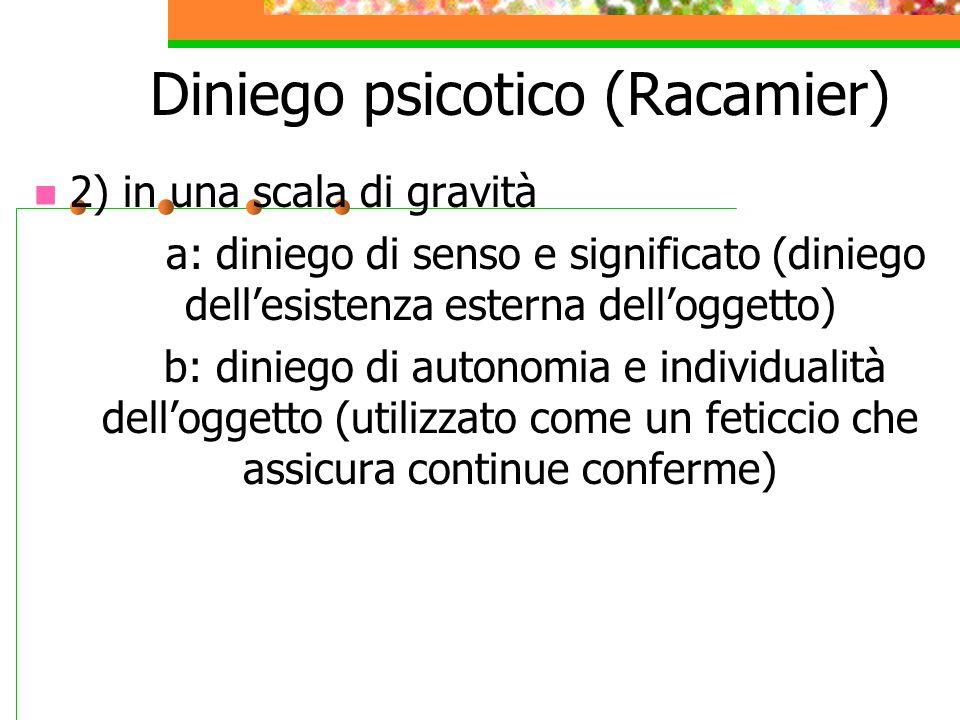 Diniego psicotico (Racamier) Freud: Modalità di difesa nei confronti delle pretese della realtà esterna.