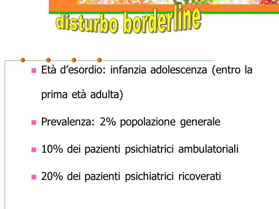 Età d'esordio: infanzia adolescenza (entro la prima età adulta) Prevalenza: 2% popolazione generale 10% dei pazienti psichiatrici ambulatoriali 20% dei pazienti psichiatrici ricoverati