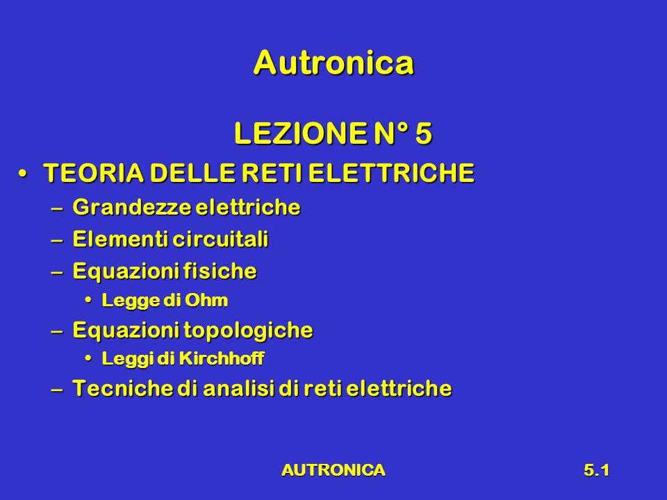 AUTRONICA5.1 Autronica LEZIONE N° 5 TEORIA DELLE RETI ELETTRICHETEORIA DELLE RETI ELETTRICHE –Grandezze elettriche –Elementi circuitali –Equazioni fisiche Legge di OhmLegge di Ohm –Equazioni topologiche Leggi di KirchhoffLeggi di Kirchhoff –Tecniche di analisi di reti elettriche