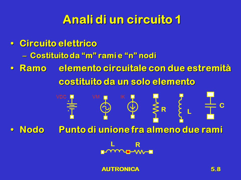 AUTRONICA5.8 Anali di un circuito 1 Circuito elettricoCircuito elettrico –Costituito da m rami e n nodi Ramoelemento circuitale con due estremitàRamoelemento circuitale con due estremità costituito da un solo elemento NodoPunto di unione fra almeno due ramiNodoPunto di unione fra almeno due rami R L C VDCVMIK L R