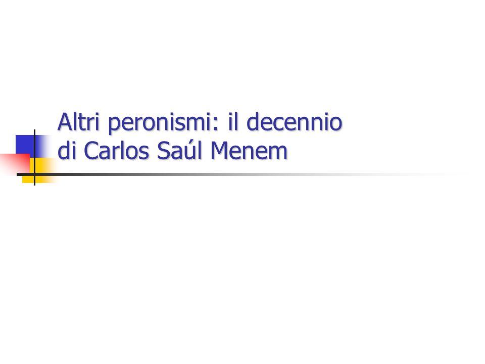 Il decennio di Carlos Saúl Menem Dal salariazo alla rivoluzione liberale Dal salariazo alla rivoluzione liberale Il difficile superamento della depressione Il difficile superamento della depressione