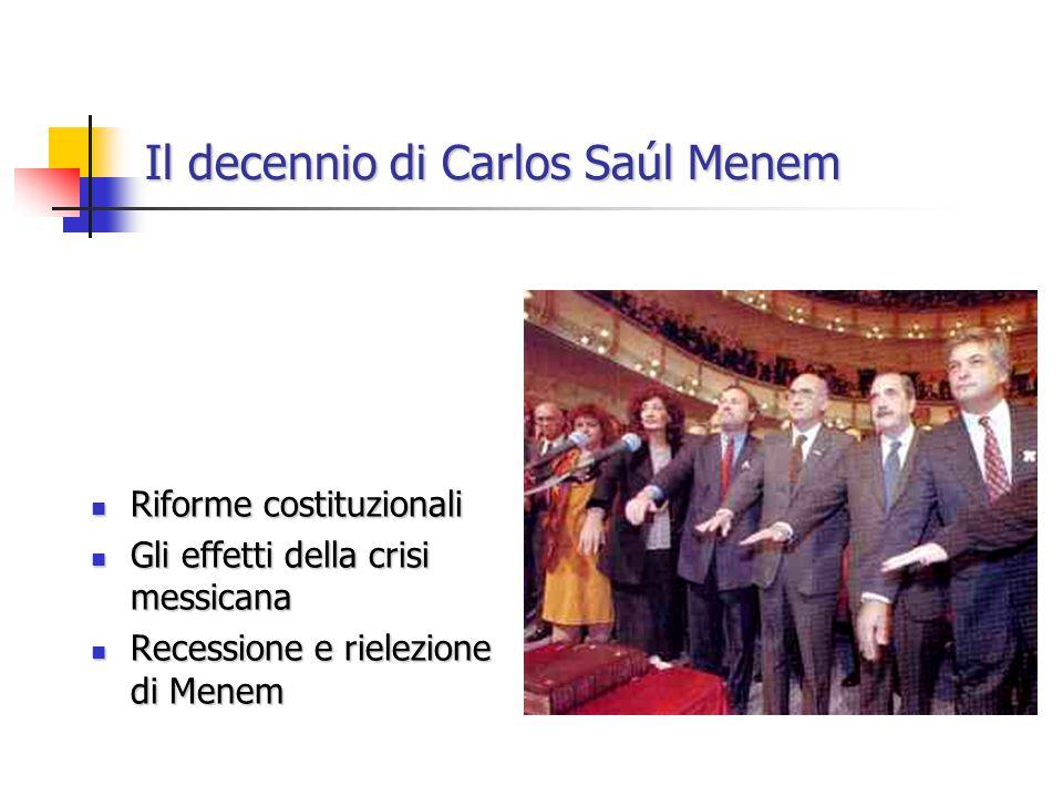 Il decennio di Carlos Saúl Menem Seconda presidenza Menem Seconda presidenza Menem Tra ripresa economica e crisi (congiuntura internazionale e dipendenza dall'estero) Tra ripresa economica e crisi (congiuntura internazionale e dipendenza dall'estero)