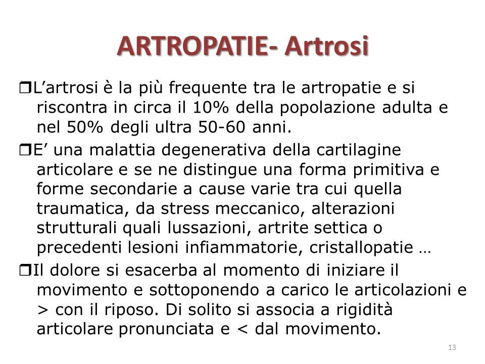 ARTROPATIE- Artrosi  L'artrosi è la più frequente tra le artropatie e si riscontra in circa il 10% della popolazione adulta e nel 50% degli ultra 50-