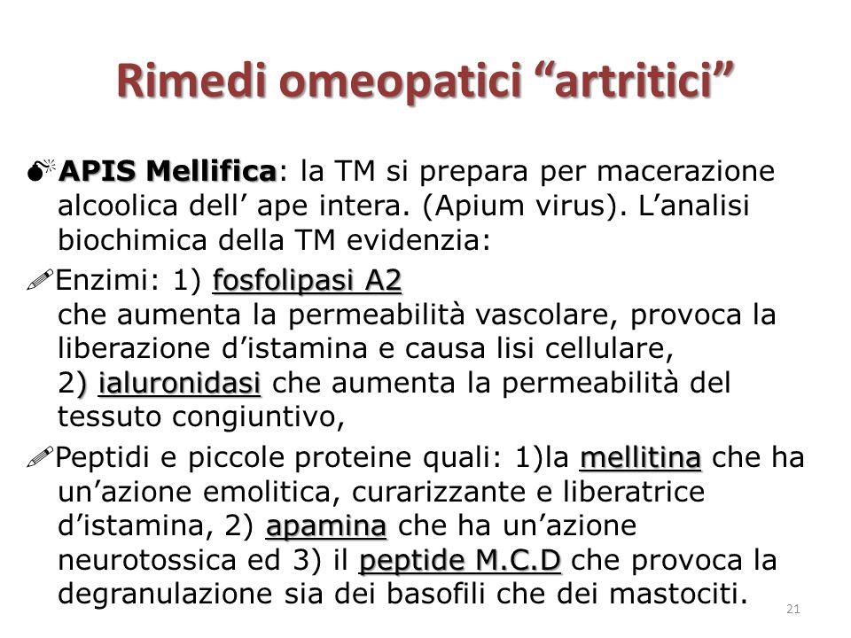 "Rimedi omeopatici ""artritici"" APIS Mellifica  APIS Mellifica: la TM si prepara per macerazione alcoolica dell' ape intera. (Apium virus). L'analisi b"