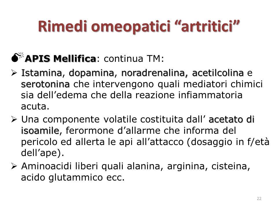 "Rimedi omeopatici ""artritici"" APIS Mellifica  APIS Mellifica: continua TM: Istaminadopaminanoradrenalina, acetilcolina serotonina  Istamina, dopamin"