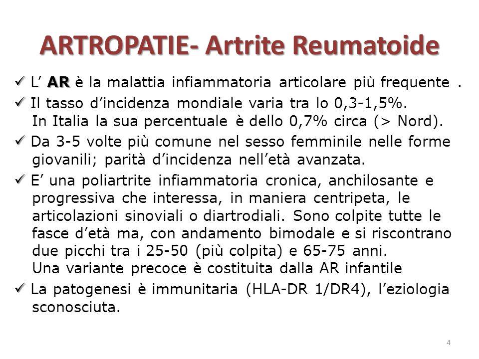 ARTROPATIE- Artrite Reumatoide AR L' AR è la malattia infiammatoria articolare più frequente. Il tasso d'incidenza mondiale varia tra lo 0,3-1,5%. In