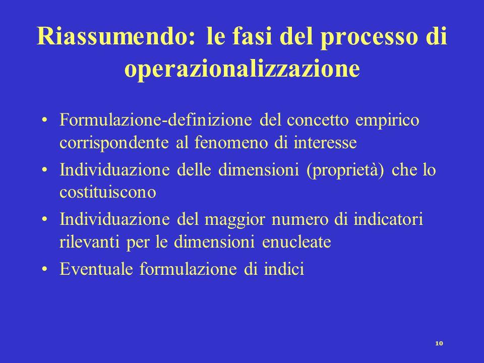 10 Riassumendo: le fasi del processo di operazionalizzazione Formulazione-definizione del concetto empirico corrispondente al fenomeno di interesse Individuazione delle dimensioni (proprietà) che lo costituiscono Individuazione del maggior numero di indicatori rilevanti per le dimensioni enucleate Eventuale formulazione di indici