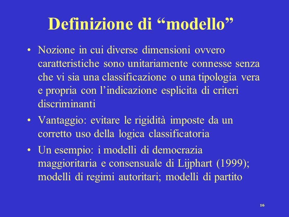 16 Definizione di modello Nozione in cui diverse dimensioni ovvero caratteristiche sono unitariamente connesse senza che vi sia una classificazione o una tipologia vera e propria con l'indicazione esplicita di criteri discriminanti Vantaggio: evitare le rigidità imposte da un corretto uso della logica classificatoria Un esempio: i modelli di democrazia maggioritaria e consensuale di Lijphart (1999); modelli di regimi autoritari; modelli di partito