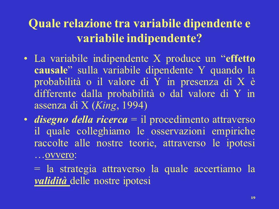 19 Quale relazione tra variabile dipendente e variabile indipendente.