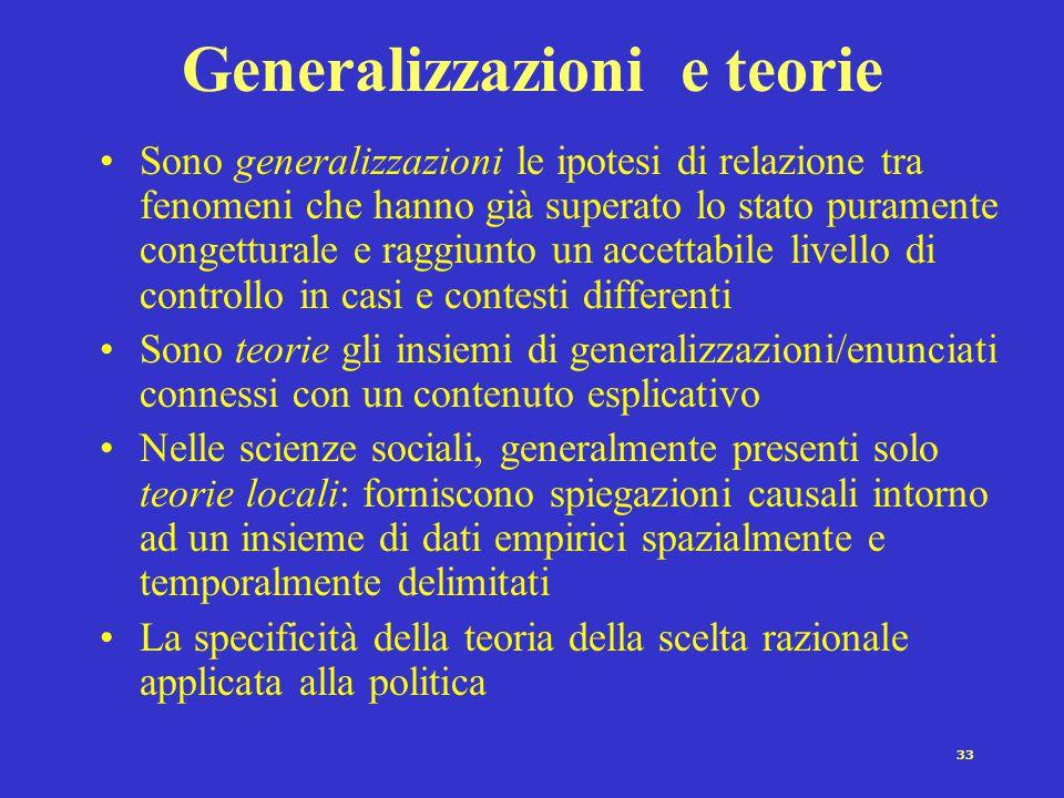 33 Generalizzazioni e teorie Sono generalizzazioni le ipotesi di relazione tra fenomeni che hanno già superato lo stato puramente congetturale e raggi