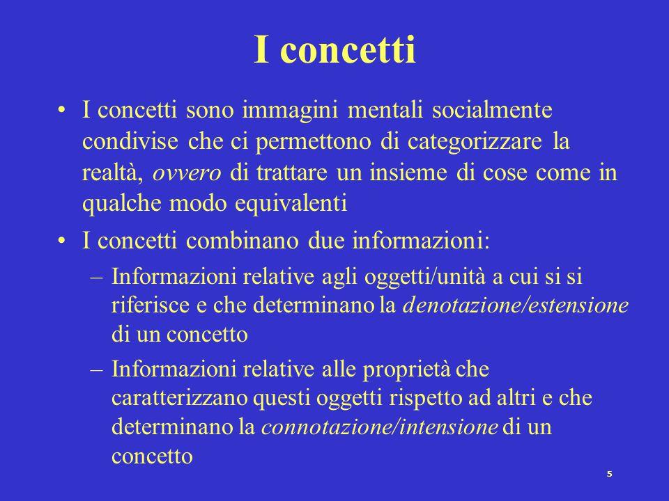 5 I concetti I concetti sono immagini mentali socialmente condivise che ci permettono di categorizzare la realtà, ovvero di trattare un insieme di cos