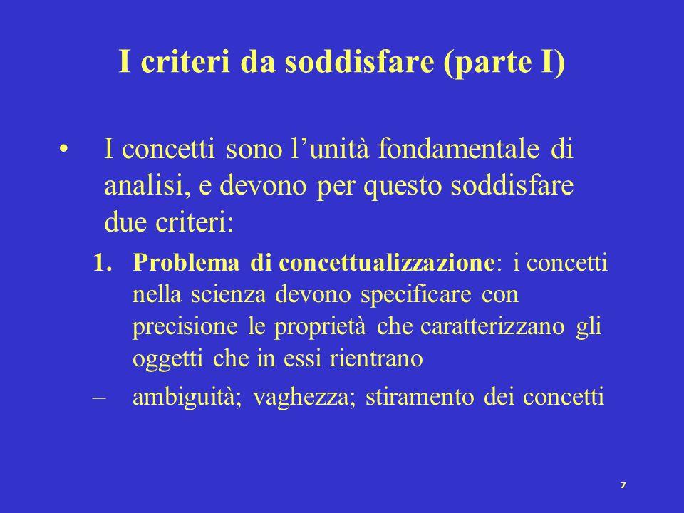 7 I criteri da soddisfare (parte I) I concetti sono l'unità fondamentale di analisi, e devono per questo soddisfare due criteri: 1.Problema di concett