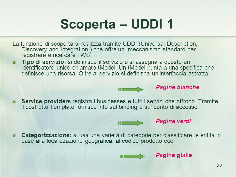 30 Scoperta – UDDI 1 La funzione di scoperta si realizza tramite UDDI (Universal Description, Discovery and Integration ) che offre un meccanismo standard per registrare e ricercare i WS: Tipo di servizio: si definisce il servizio e si assegna a questo un identificatore unico chiamato tModel.